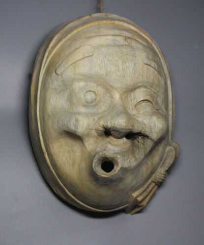 QH024 23.5x17x7 CM Hand Carved Japanese Noh Hyottoko Mask MASK