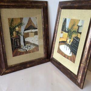 Two-Modern-Framed-Matted-Art-Prints-Zebra-Cheetah-Neutral-Pallet