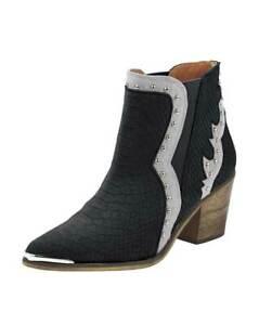 san francisco 078eb bd9f3 Details zu Heine Leder Cowboy Stiefelette schwarz silber Gr 36 bis 42  Stiefel Damenschuhe