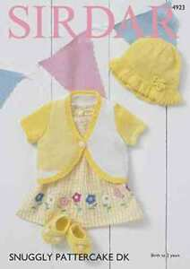 Sirdar-Snuggly-Pattercake-pattern-4923-Bolero-sunhat-and-shoes