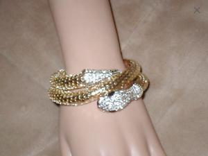 Rare Rare Vintage 1960s white mesh and gold snake bangle