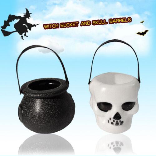 5//10//20pcs Halloween Party Spooky Skull Witch Cauldron Plastic Favour Buckets UK