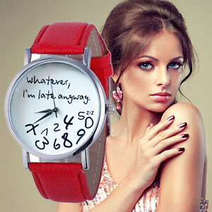 New-Women-Leather-Quartz-Watch-Whatever-I-am-Late-Anyway-Letter-Wrist-Watches