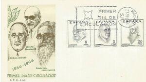 FDC-Sobre-Primer-dia-Espana-edifil-1758-1760-Literatos-Espanoles-1966