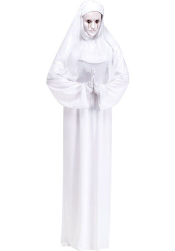 Ladies Scary Mary Nun Religious Ghost Halloween Fancy Dress Costume Outfit