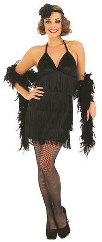 1920s Flapper dress nero Donna Costume Charleston Gatsby Costume Adulto 20s