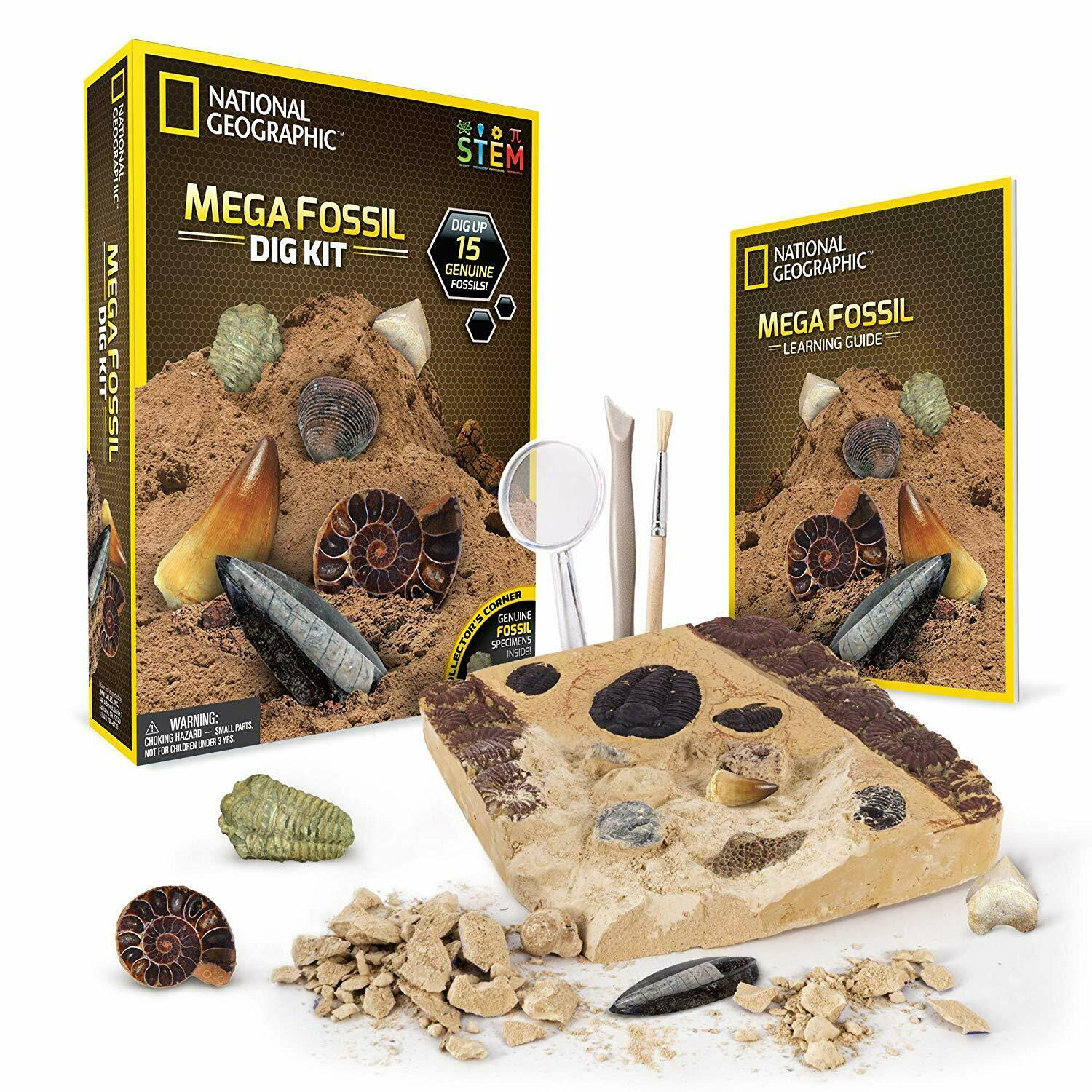 Fast Shipping  {NEW} National Geographic Mega Fossil Dig Kit Excavate 15 Real