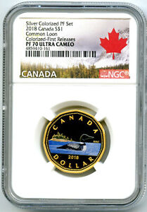 2018-CANADA-SILVER-PROOF-LOONIE-DOLLAR-NGC-PF70-GILT-COLORED-LOON-FR-EX-RARE