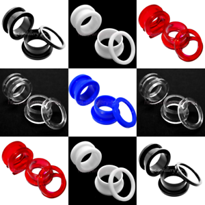Flesh-Tunnel-SCREW-ON-ACRYLIC-Ear-Plug-Easy-Fit-Stretchers-Defenders-5-colours