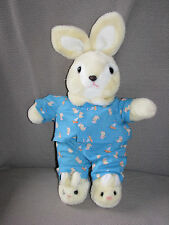 ANIMAL PLAYTHINGS INC STUFFED PLUSH BUNNY RABBIT BLUE CHICK PAJAMAS 1985 OR 1986