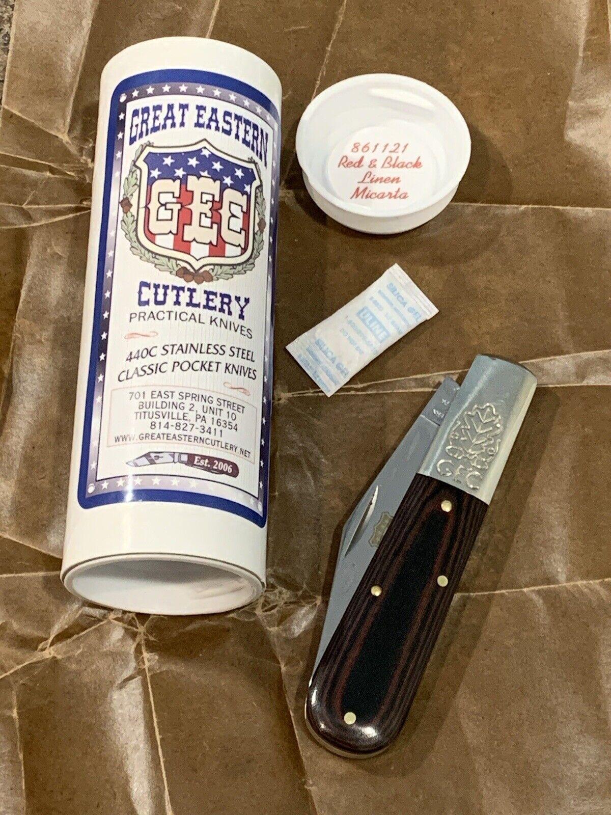 GEC / Great Eastern Cutlery #86 / Two Acorn Barlow 861221 - Red & Black Micarta