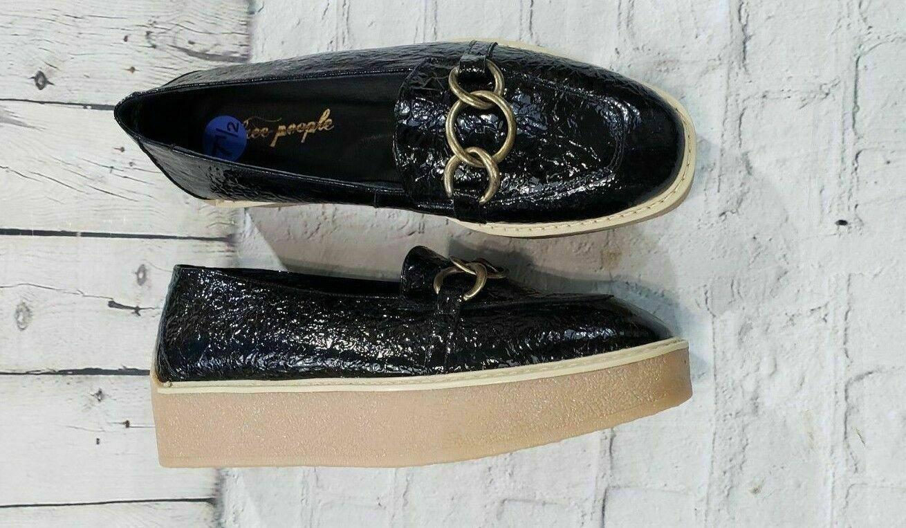 NEW Free People Black Khaki Platform Creeper Oxford shoes Women's Size 7.5