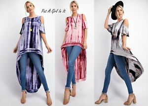 PLUS-SIZE-RED-BLACK-NAVY-TIE-DYED-HI-LOW-COLD-SHOULDER-TUNIC-SHIRT-1X-2X-3X-USA