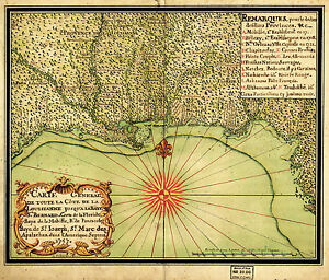 Details about 1747 OLD Map Gulf Coast Louisiana to Florida Wall Art Poster  History Genealogy