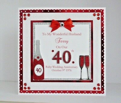Personalised Ruby 40th Wedding Anniversary Card Wife//Husband//Mum /& Dad Large 8x8