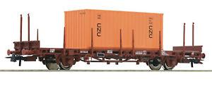 Roco-H0-76986-Flachwagen-034-beladen-mit-einem-Container-034-der-SNCF-NEU-OVP