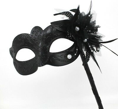 MIDNIGHT BLACK MASK WITH FLOWER//PEARLS VENETIAN MASQUERADE PARTY BALL PROM EYE