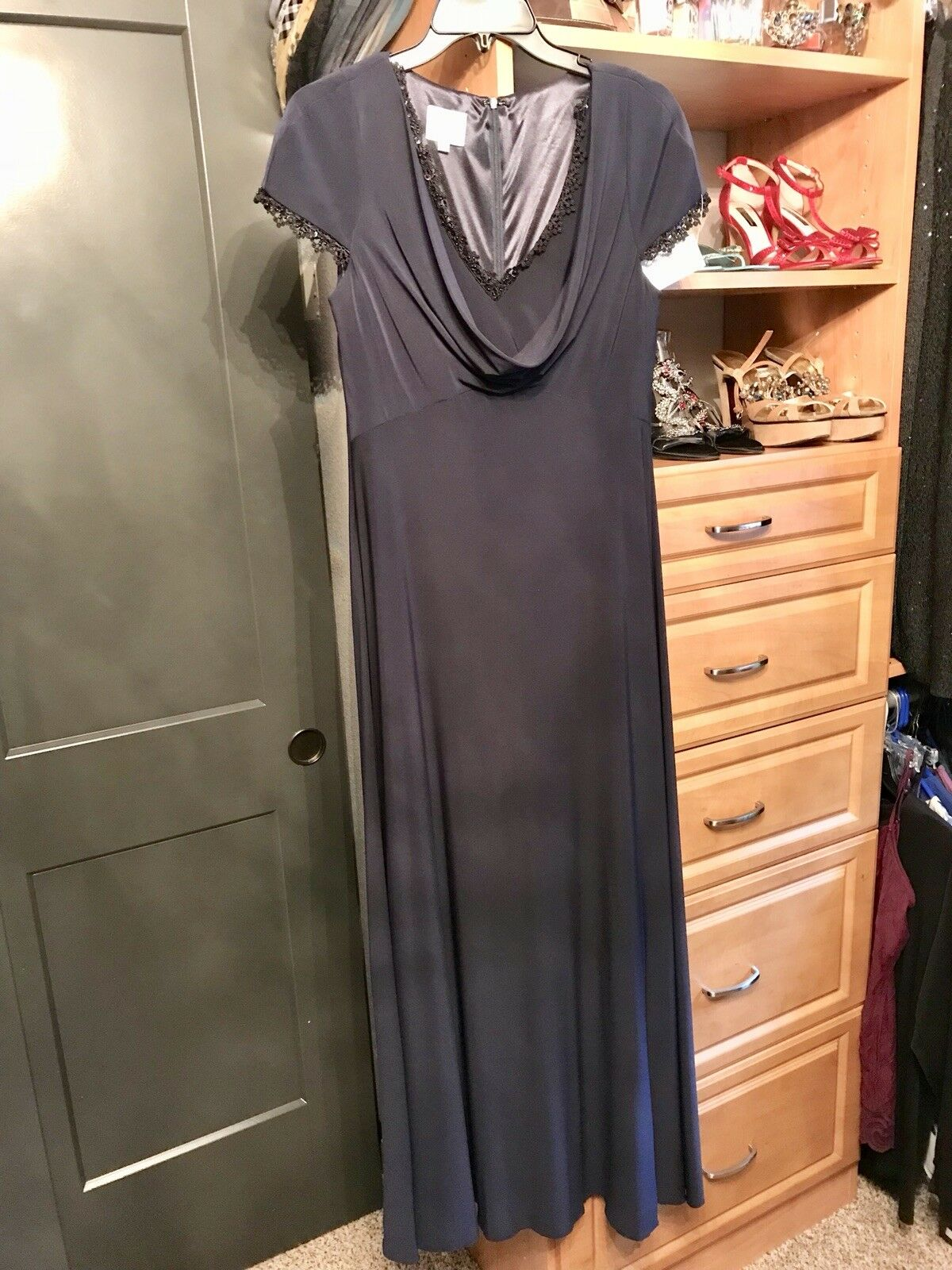189 NWT New Patra Womens Navy bluee Size 12 Jersey Evening Gown 63% OFF