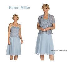 Elegant Mother of Bride Sky Blue Sequin Lace & Chiffon Formal Jacket Dress 16