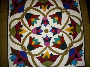 Vintage-Hand-Stitched-Applique-Handmade-Quilt-Floral-Pillow-Cover-18-034-x-17-034