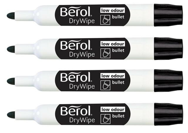 DRY WIPE BLACK BULLET TIP White Board marker pens Drywipe Markers Fine Thin Tip