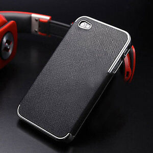 Black-Leather-Chrome-Hard-Case-Cover-For-iPhone-4-4s-5-5s-6-Screen-Protector