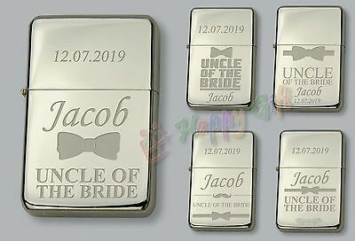 Nuova Moda Uncle Of The Bride Personalised Petrol Lighter Free Engraved Wedding Gift