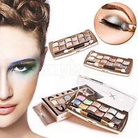 12 Farbe  Professional Eyeshadow Shimmer Palette & Cosmetic Brush Makeup Set Neu
