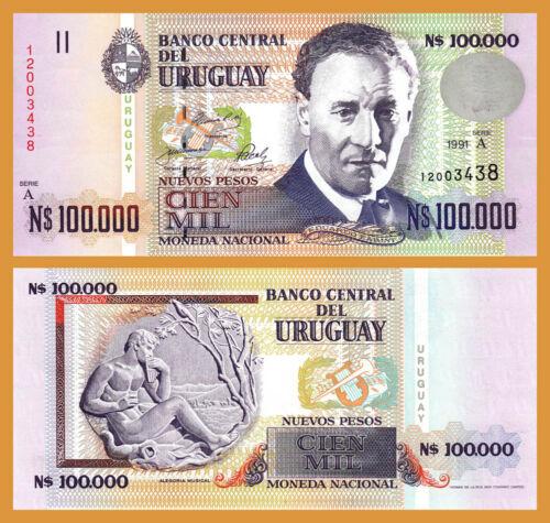 A Uruguay 100,000 Nuevos Pesos 1991 UNC but aUNC P-71 Prefix