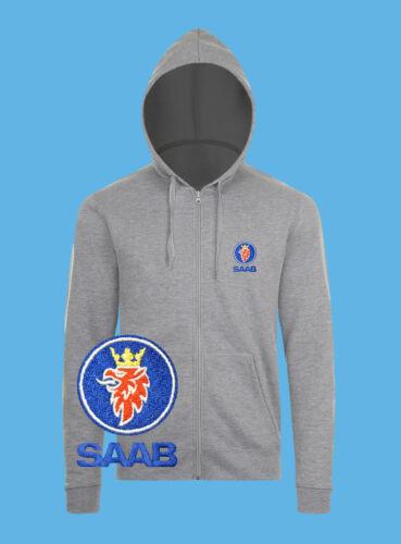 SAAB Zip Hoodie EMBROIDERED Auto Car Logo Sweat Sweatshirt Jacket Hoody Mens