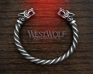 Image is loading Silver-Viking-Fenrir-Wolf-Bracelet-Torc-Torque-Norse- 56523ffa6