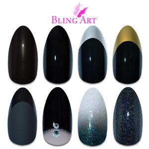 Bling-Art-Almond-Black-False-Nails-Glitter-Matte-Gel-Fake-24-tips-Medium-Glue