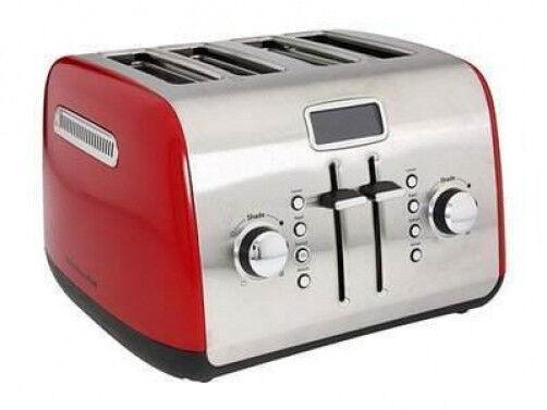 KitchenAid RR-KMT422ER 4-Slice Digital Toaster W LCD Display Empire Red Steel