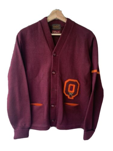 Vintage  Letterman Wool Sweater Cardigan College