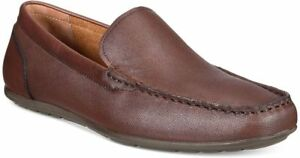 size-11-5-Alfani-Dan-Brown-Leather-Loafers-Slip-On-Mens-Driver-Shoes-NEW