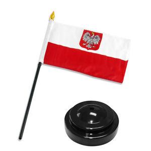 Polish-Poland-Eagle-4-034-x6-034-Flag-Desk-Set-Table-Stick-Black-Base