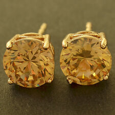 Cute Yellow Gold Filled Round Champagne CZ small Stud Earrings authentic Korean