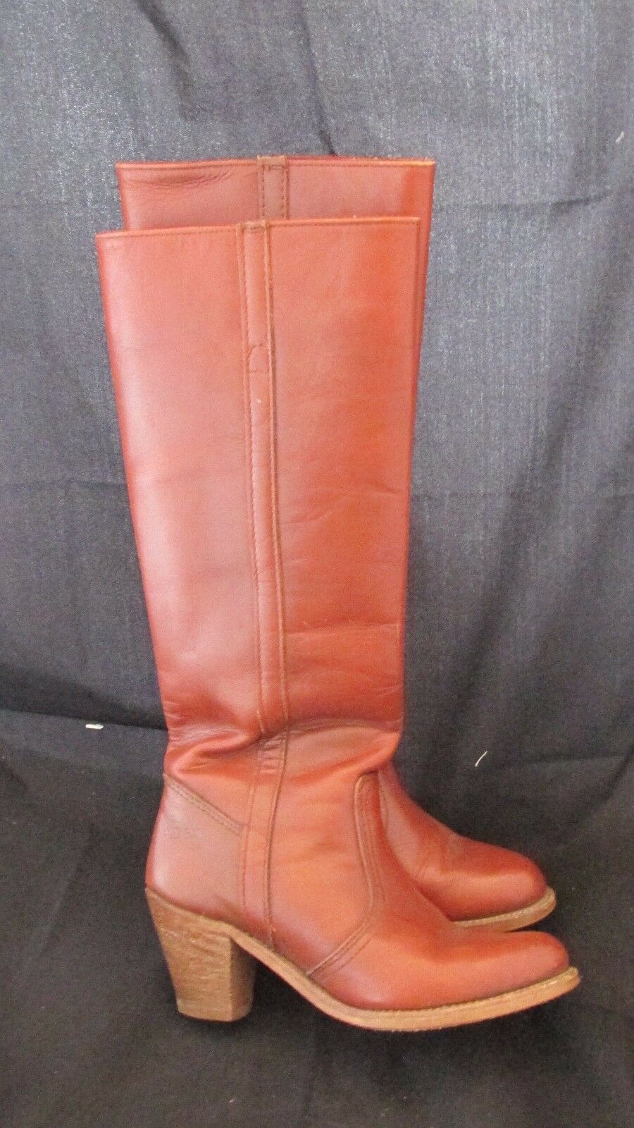 Women's Size 6 M DEXTER Tall Leather Cognac Brown Boots Pull On USA Campus 17