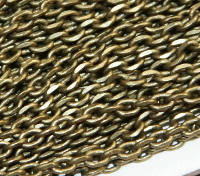 32ft spool Antique Brass fancy Chain, Antique Brass faceted chain 3.8x2.8mm