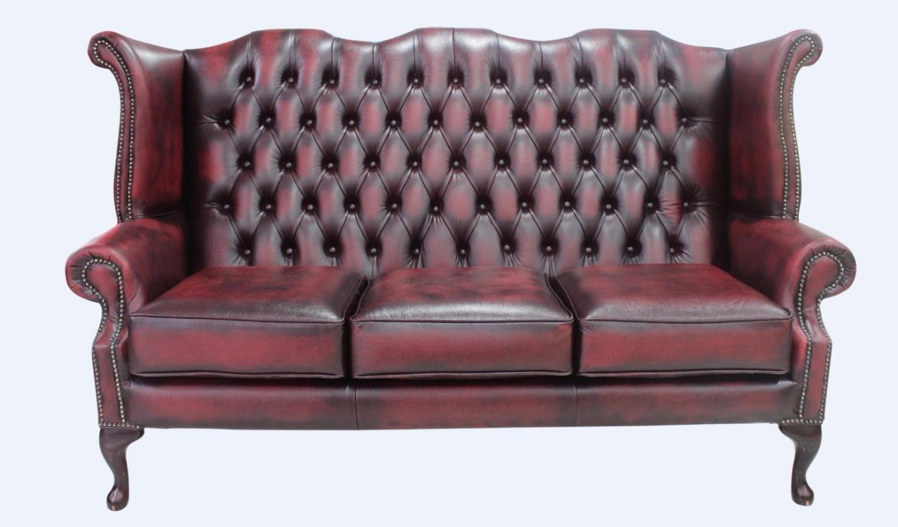 Details about Chesterfield 3 Seater Queen Anne High Back Sofa Settee  Antique Oxblood Leather