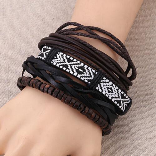 Vintage cuff bracelet simili cuir feuille Hommes Femmes Bracelet Punk multicouche Bijoux