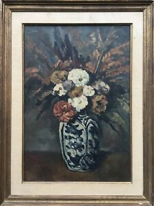 Oil-Painting-Still-Life-Flowers-Vase-Anonymous-Herbstbouquet-France-69-5-x-52