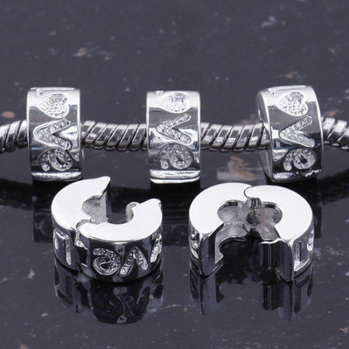 HOT! 5Pcs LOVE style charm stopper clip/lock beads fit chain