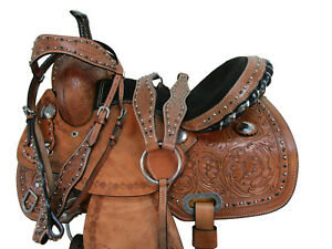 PRO WESTERN HORSE SADDLE 15 16 PLEASURE TRAIL LEATHER BARREL RACING RACER TACK