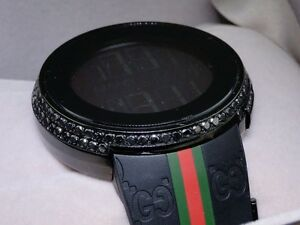 8c548215e44 Mens Custom Digital Gucci I-Gucci 2 Row Black Diamond Watch YA114207 ...