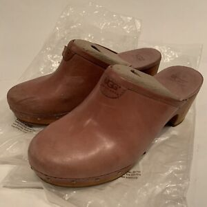 UGGS-CLOGS-BROWN-LEATHER-SHEEPSKIN-LINED-CLOGS-MULES-WOODEN-3-034-HEEL-SIZE-7