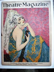 Art Deco Beautiful Vintage June 1925 Theatre Magazine W/ Beautiful Spanish Woman Holding Guitar * Theater Memorabilia