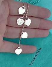Tiffany & Co Return To Tiffany Silver Five Hearts Lariat Dangle Pendant Necklace