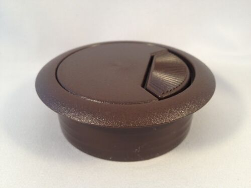 """80mm 3-3//16/"""" Hole Deluxe Plastic Computer Desk Cable Grommet Hole Cover Brown"""