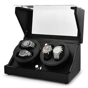 luxe coffret boite pour 4 montres klarstein winder automatique remontoir vitrine ebay. Black Bedroom Furniture Sets. Home Design Ideas